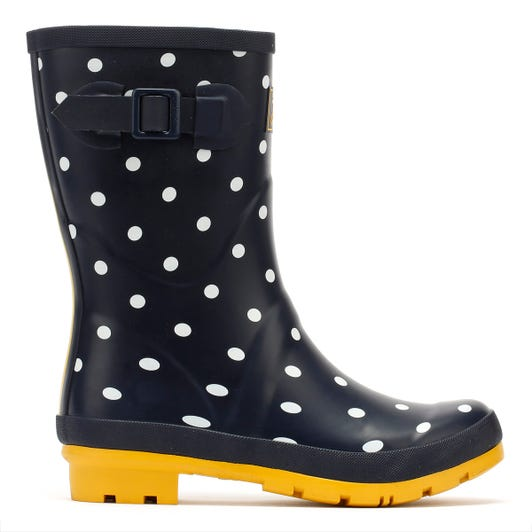 Joules Molly Mid Height French Spot Womens Navy Wellies