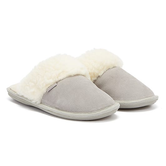 Barbour Lydia Mule Suede Womens Grey Slippers