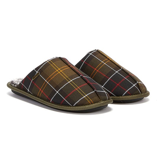 Barbour Young Tartan Mens Brown Slippers