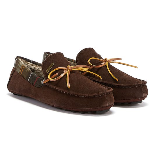 Barbour Tueart Suede Mens Dark Brown Slippers