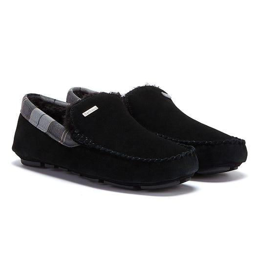 Barbour Monty Suede Mens Black Slippers
