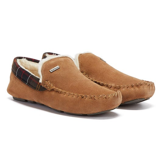 Barbour Monty Suede Camel Tan Mens Moccasin Slippers