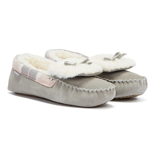 Barbour Darcie Womens Light Grey Slippers