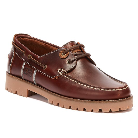 Barbour Stern Leather Mens Mahogany Brown Shoes