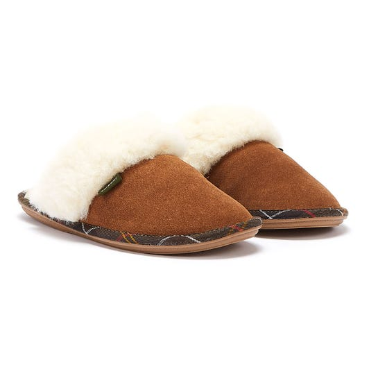 Barbour Lydia Mule Suede Camel Tan Womens Slippers