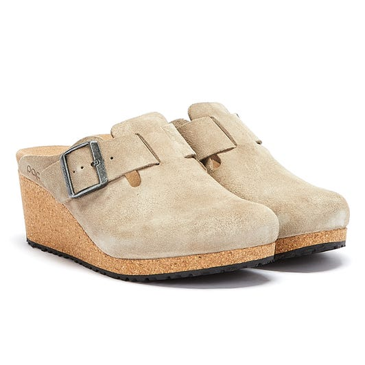 Birkenstock Fanny Suede Womens Taupe Wedge Sandals