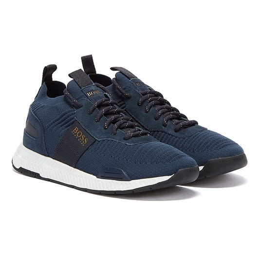 BOSS Titanium Runn Mens Dark Blue Trainers