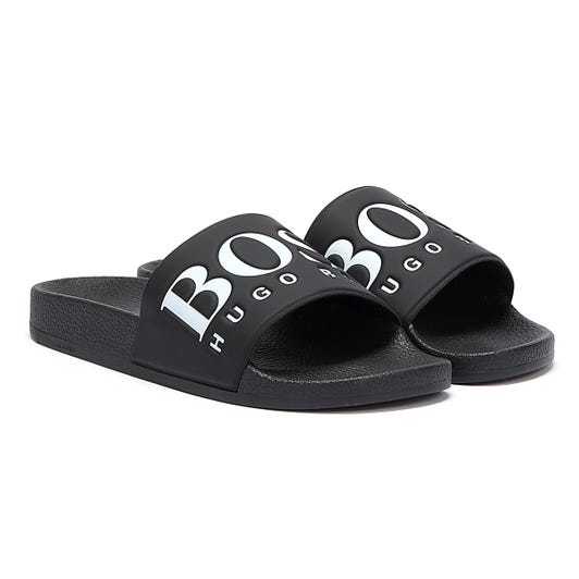 BOSS Solar Mens Black / White Slides