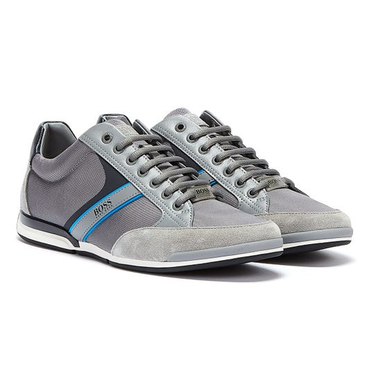 BOSS Saturn Low Mens Grey / Blue Trainers