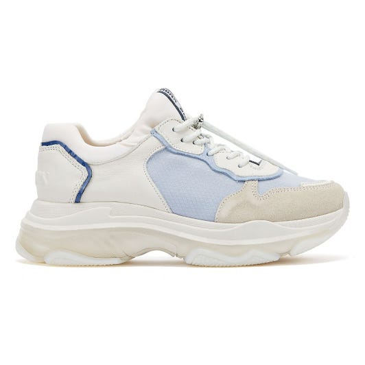 Bronx Baisley Womens Off White / Baby Blue Trainers