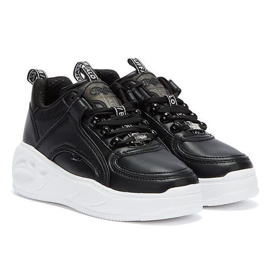 Buffalo Flat SMPL Womens Black / White Trainers