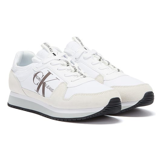 Calvin Klein Jeans Runner Sock Lace Up Mens White Trainers