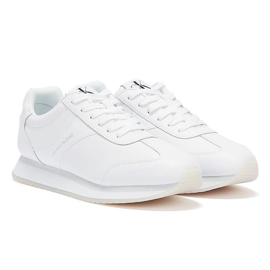 Calvin Klein Jeans Runner Lace Up Faux Leather Womens White Trainers
