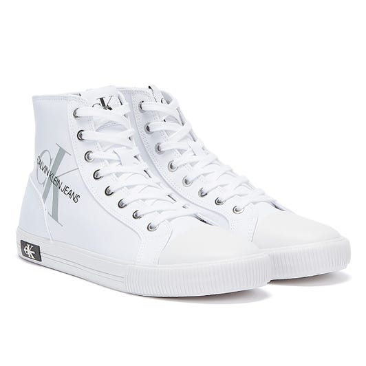 Calvin Klein Jeans Vulcanised High Polyester Mens White Trainers