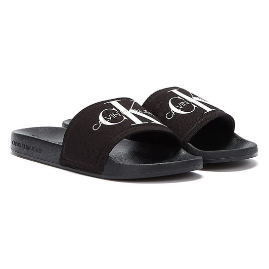 Calvin Klein Jeans Monogram Cotton Mens Black Slides