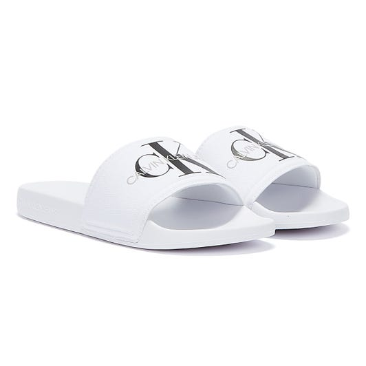 Calvin Klein Jeans Monogram Cotton Womens White Slides