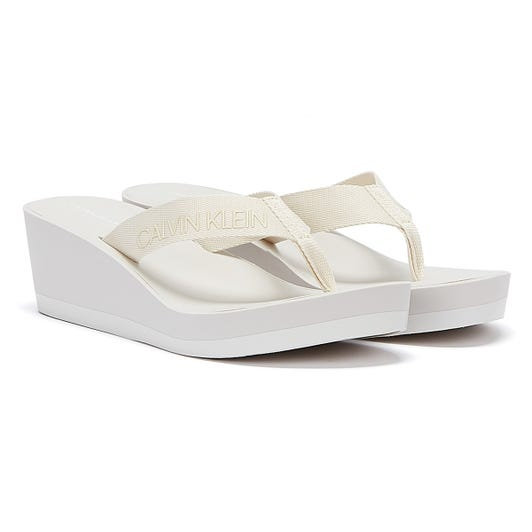 Calvin Klein Jeans Padded Flip Flop Womens White Wedge Sandals