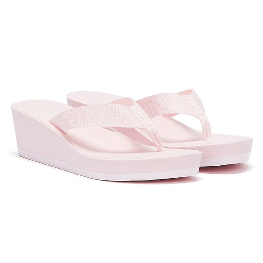 Calvin Klein Jeans Padded Flip Flop Womens Pink Wedge Sandals