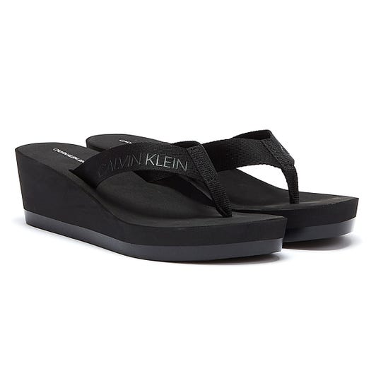Calvin Klein Jeans Padded Flip Flop Womens Black Wedge Sandals