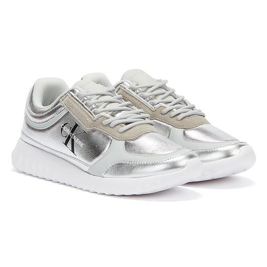Calvin Klein Jeans Runner Lace Up Eva Womens Silver Mirror Trainers