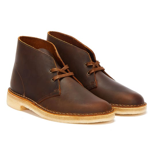 Clarks Desert Leather Mens Brown Boots