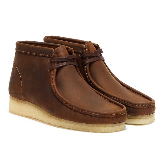 Clarks Wallabee Leather Mens Beeswax Brown Boots