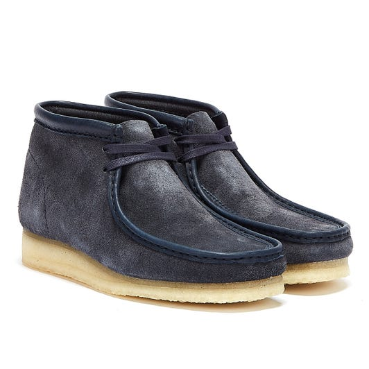 Clarks Wallabee Hairy Suede Mens Navy Boots