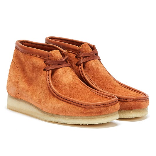 Clarks Wallabee Hairy Suede Mens Tan Boots