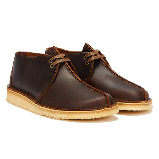Clarks Desert Trek Leather Mens Beeswax Brown Boots