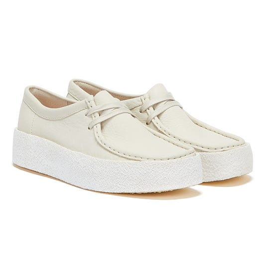 Clarks Wallabee Cup Nubuck Womens White Shoes