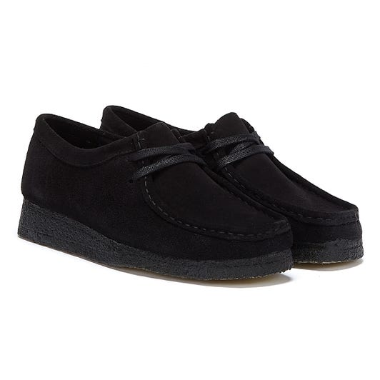 Clarks Wallabee Suede Womens Black Shoes