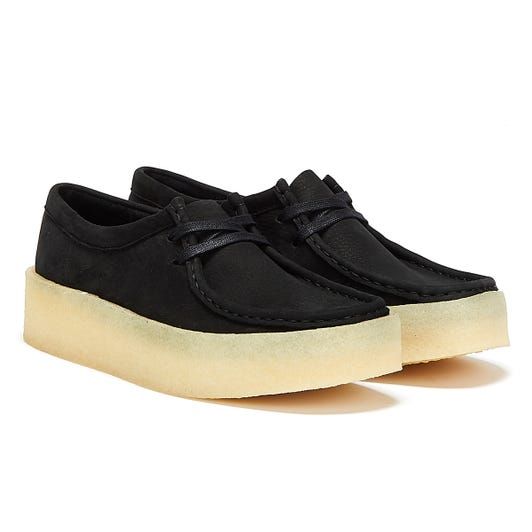 Clarks Wallabee Cup Nubuck Womens Black Shoes
