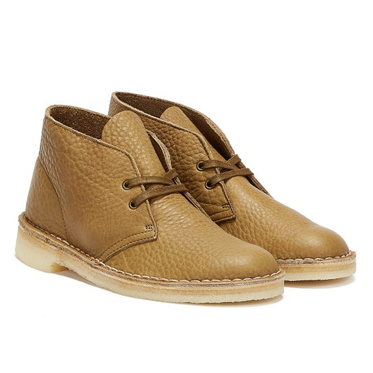Clarks Desert Leather Mens Olive Brown Boots