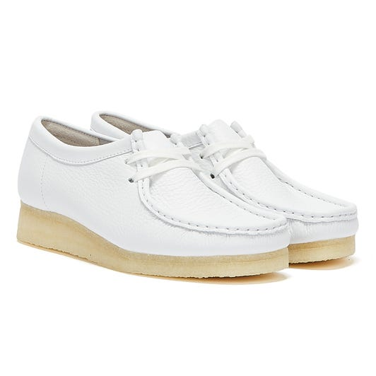 Clarks Wallabee Leather Womens White Shoes