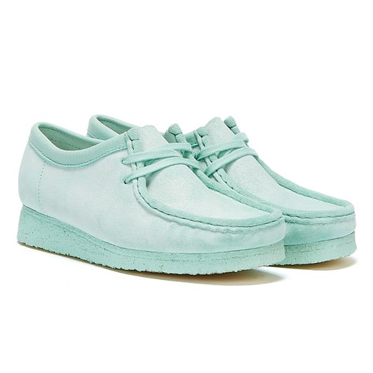 Clarks Wallabee Suede Womens Mint Shoes