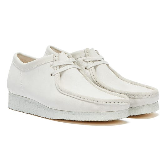 Clarks Wallabee Suede Mens White / White Shoes