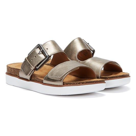 Clarks Elayne Ease Leather Womens Gold Sandals
