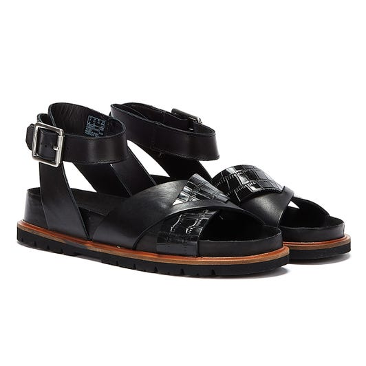 Clarks Orianna Cross Combi Leather Womens Black Sandals
