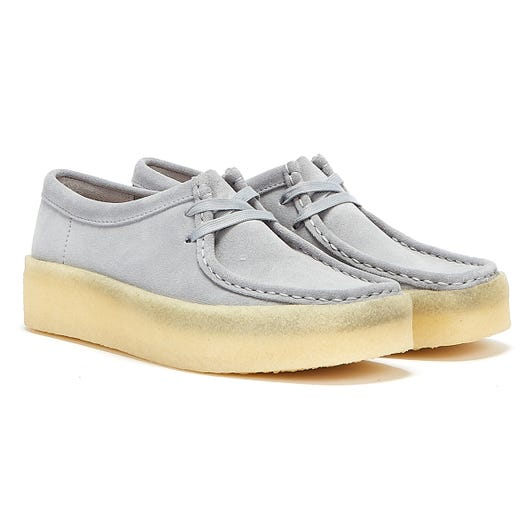 Clarks Wallabee Cup Suede Womens Light Grey Shoes