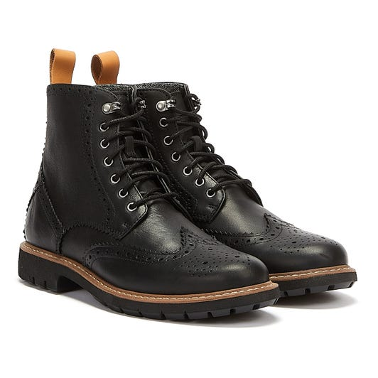 Clarks Batcombe Lord Mens Black Leather Boots