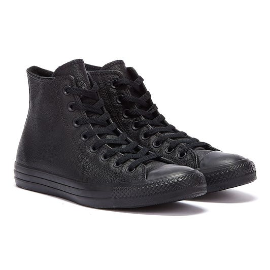 Converse All Star Hi Mens Black Monochrome Leather Trainers