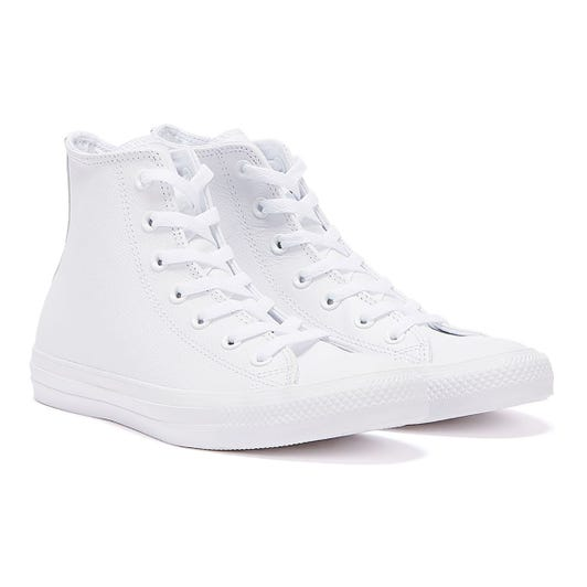 Converse All Star Chuck Taylor Hi Womens Mono White Leather Trainers