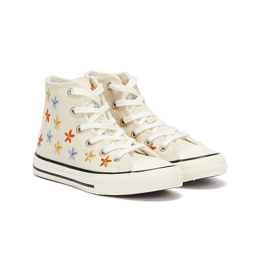 Converse All Star Spring Flowers Hi Junior Ivory Trainers