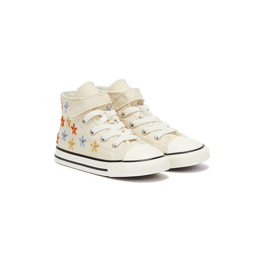 Converse All Star Spring Flowers Hi Infants Ivory Trainers