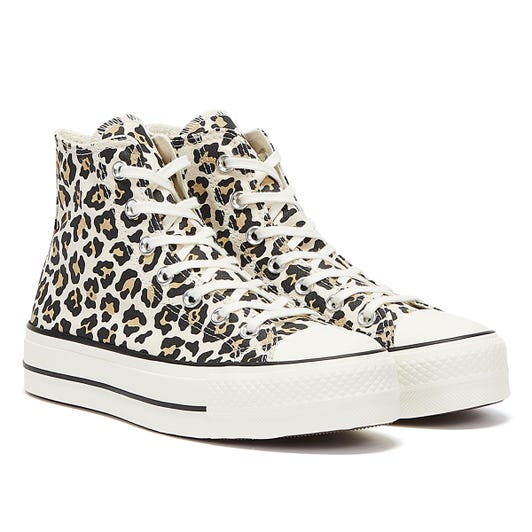 Converse All Star Lift Archive Leopard Hi Womens Beige / White Trainers