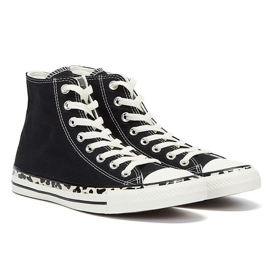 Converse All Star Edged Archive Leopard Hi Womens Black / Cream Trainers