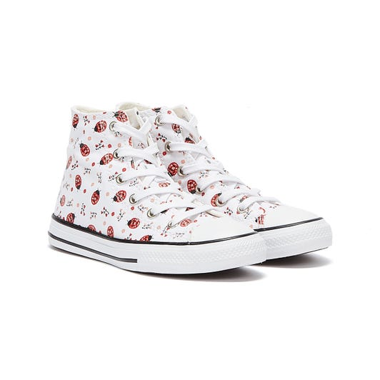 Converse All Star Flowery Bugs Hi Junior White Trainers
