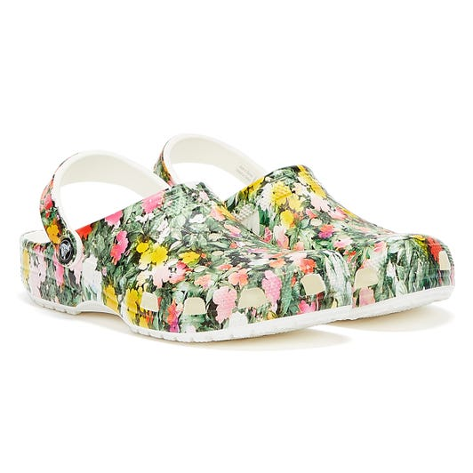 Crocs Classic Printed Floral Womens White / Multi Clogs