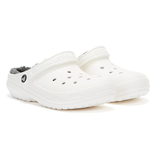 Crocs Classic Lined Womens White / Grey Clogs