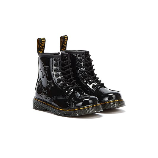 Dr Martens 1460 Patent Lamper Cosmic Glitter Toddlers Black Boots